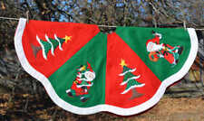 "Appliqued Christmas tree Skirt Santa & Trees 48"" lined"