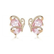 GORGEOUS 18K ROSE GOLD PLATED GENUINE PINK CUBIC ZIRCONIA BUTTERFLY EARRINGS