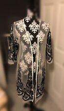 White Sheer Kimono Black Embroidered 3/4 Sleeve Beach Duster XL