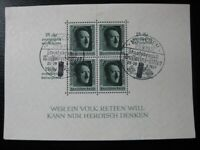 THIRD REICH Mi. #Block 11 used stamp sheet w/ nice cancels! CV $72.00