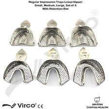 New Dental Impression Trays Full Denture Perforated Set of 6 SML Upper Lower CE