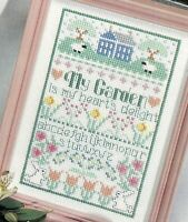 My Garden Is My Heart's Delight Sampler Cross Stitch Pattern Chart from magazine