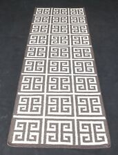 Geometric Flat Weave Wool Silk Cotton Area Rug 78 x 228 Cm Runner Carpet DN-1396