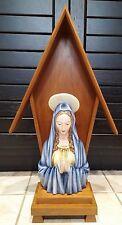 "11"" Golden Crown E & R Keramos Religious Virgin Mary Figure + STAND"
