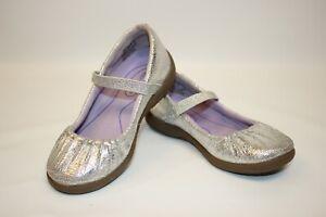Girls Stride Rite Metallic Silver Mary Jane 9M SRT PS Cassie Scale Print Shiny