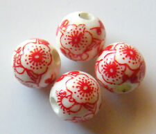 30pcs 10mm Round Porcelain/Ceramic Beads - White / Bright Red Cherry Blossoms