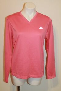 Adidas ClimaLite V-Neck Athletic Jersey sz XL Pink Coral Running Reflective L/S