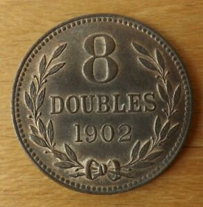 Guernsey British 8 Doubles Coin 1902 About UNC Grade Lustrous Superb Scarce...