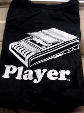 PLAYER T SHIRT CASSETTE TAPE PLAYER IMAGE DISTRESSED BLACK LARGE AAA BRAND VGUC