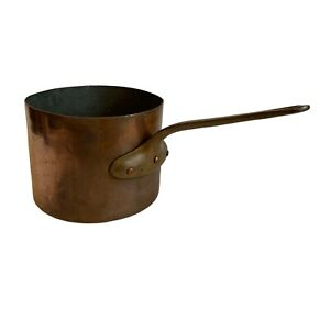 Large Heavy Quality Leon Jaeggi Copper Pan Tin Lined Brass Handle