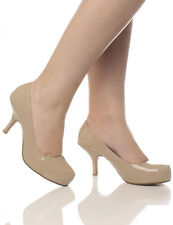 Womens Mid Heel Casual Smart Work Pump Ladies Court Shoes Size 3-8 Nude Patent 39 UK 6