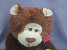 NEW CHOCOLATE BROWN TEDDY BEAR HOLDING GIFT POLKADOT PLUSH STUFFED ANIMAL