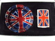 NEW Union Jack Glass Ashtray and Lighter Gift Set, Smoking Set brand new