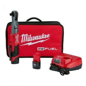 Milwaukee M12 FUEL 3/8 in. Ratchet 2 Battery Kit 2557-22 New