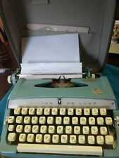 Beautiful Baby Blue Brother de Luxe Vintage Typewriter with case