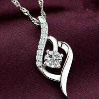 Dame Twisted Silber Kristall Rhinestone 8Form Anhänger Halskette Schmuck DE B8Q9