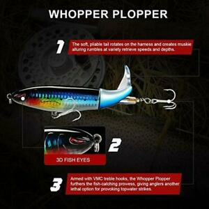 Whopper Plopper Topwater Float Fishing Lures Rotating Chub For Bass Tail New