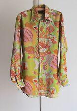 Men's Vintage ETRO Muted Tones Tropical Fish Print Long Sleeve Linen Shirt Size