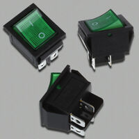 Green Light 4 Pin DPST ON/OFF Snap in Boat Rocker Switch 16A/250V 15A/125V  E8X2