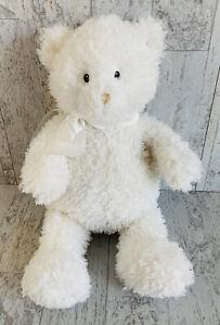 """Baby Gund White Teddy Bear COTTON 58585 white ribbon soft toy plush 15"""" medium"""