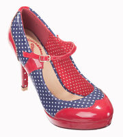 MARY JANE Polka Dot Shoes by Banned 50s Rockabilly Heels Navy RED 3 4 5 6 7 8