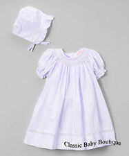 NWT Petit Ami Lavender Voile Smocked Daygown Bonnet 2PC Newborn Bishop Dress