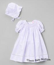 NWT Petit Ami Lavender Voile Smocked Daygown Bonnet 2PC Newborn Bishop Dress