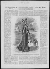 1900 Antique Print - FASHION Costume Walking Crepon Velvet Ribbons Cluny  (332)