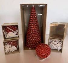 Cranberry Tall Candle w/4 Small Round Cranberry Candles, Holiday, In Boxes