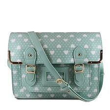 Ladies Girls Quality School work Satchel in Green and White with White Hearts