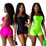 Sexy Women's Spaghetti Strap Bandage Backless Solid Short Bodycon Jumpsuit Club