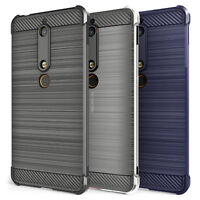 Nokia 6 (2018) Carbon Fibre Best TPU Silicone Gel Case Protection Phone Cover