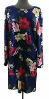 Derek Heart Womens Plus Blue Floral Long Sleeve Bodycon Dress Casual