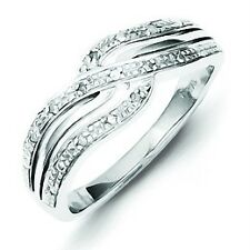 .925 Sterling Silver Casted & Polished .05ct Round Cut Diamond Swirl Ring Size 8