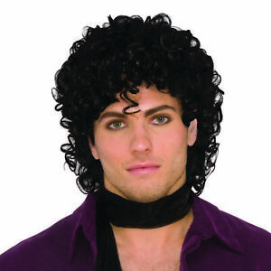 Prince Wig 90s 80s Jackson Black Curly Pop Fancy Dress Accessory