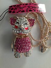 """PINK CRYSTAL PIG 28"""" Pendant Necklace Betsey Johnson GIFT BOX"""