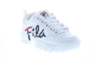 Fila Disruptor II Script Womens White Synthetic Lifestyle Sneakers Shoes