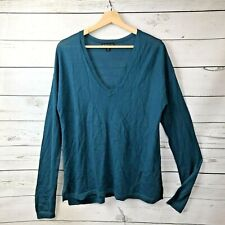 Lane Bryant Merino Wool Sweater Size 14/16 Womens Teal Blue Top Blouse V Neck