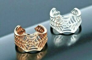 Spider Web Ring in Silver or Gold Colours, Adjustable. Halloween, Vampire, Goth