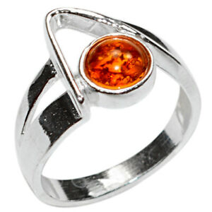3.3g Authentic Baltic Amber 925 Sterling Silver Ring Jewelry s.10 N-A7491