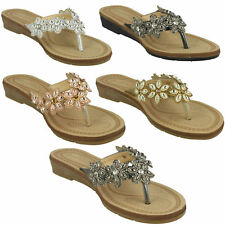 LADIES SAVANNAH TOE POST CASUAL LOW WEDGE HEELED SUMMER MULES SANDALS F1R0873