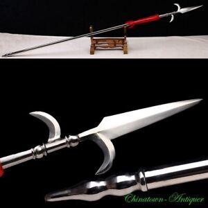 XuNing Double Hook Sword Spear Pike Lance Voulge Kamayari High Carbon Steel#3415