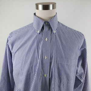 Brooks Brothers Mens Non Iron Traditional Fit LS Button Up Blue Striped Shirt 16