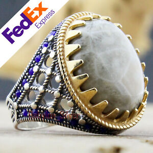 Natural Fossil Coral Stone 925 Sterling Silver Turkish Handmade Men Ring AllSize