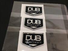 NEW DUB EDITION Badge Emblem 3M Stick On Hood Fender Trunk Chrome Black -3pcs