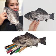 Funny Rare Silver Carp Fish Zipper Change Purse Pencil Case Make-Up Pouch