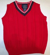 Bowen & Wright Red Blue White Cable Knit Preppy Sweater Vest Russia 2T C-2