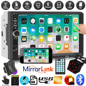 """2DIN 7"""" HD Car Stereo Radio Bluetooth MP5 Player Touch Screen With Rear Camera"""