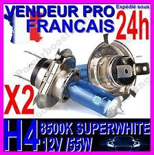 KIT DE 2 AMPOULE H4 55W LAMPE HALOGENE FEU PHARE XENON GAZ SUPER WHITE 8500K 12V