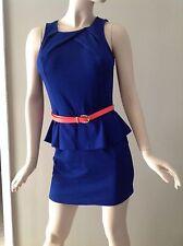 Sugar Lips Cobalt Blue Belted Open Back Peplum Dress Size L